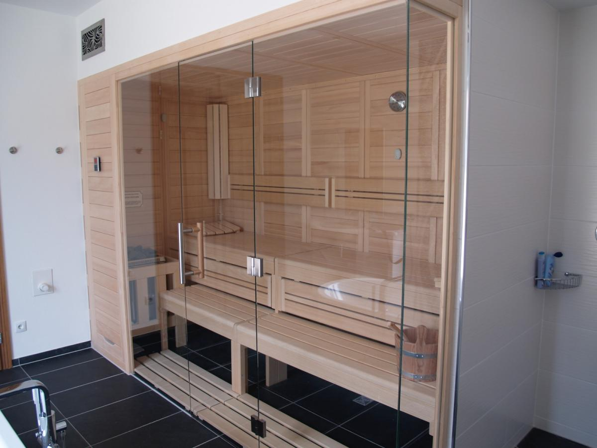 Design Sauna Glasfront sauna mit glas made in germany- schweizer montageteam